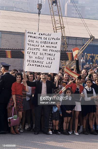 In November 1971 Princess Sophia and Prince Juan Carlos of Spain visit the city of Burgos in Castile and Leon Supporters came here with family...