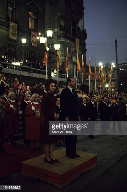 In November 1971 Princess Sophia and Prince Juan Carlos of Spain visit the city of Burgos in Castile and Leon Here during a ceremony at night side by...