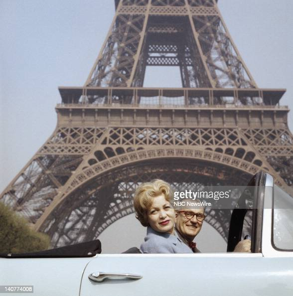 TODAY 'TODAY in Paris 1959' Pictured 'Girl of the Day' Jacqueline Joubert NBC News' Dave Garroway in front of the Eiffel Tower in Paris France from...
