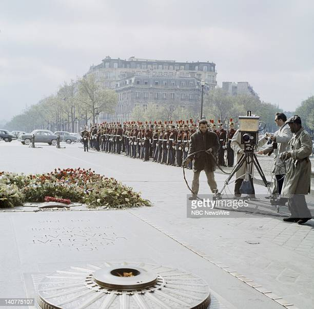 TODAY 'TODAY in Paris 1959' Pictured NBC camera crew film the Tomb of the Unknown Soldier and the Legion of the Republican Guard of Paris at the Arc...