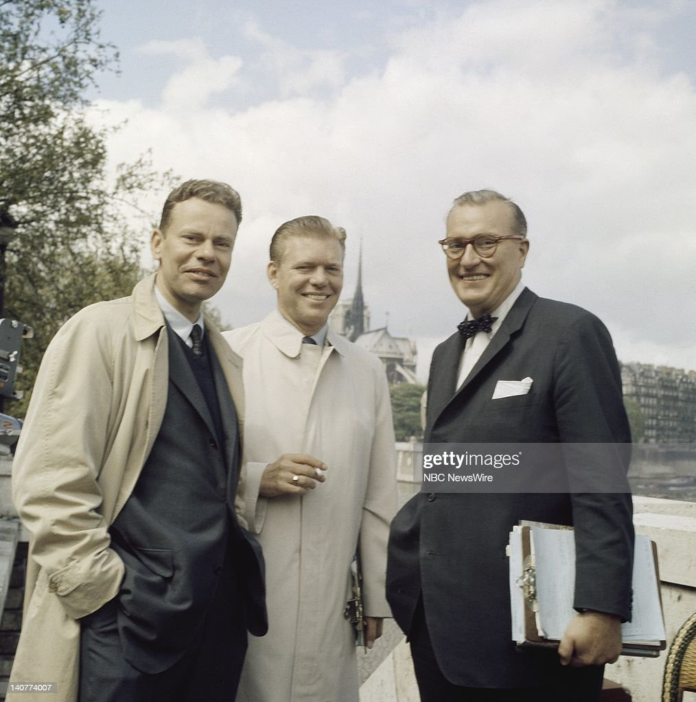 TODAY 'TODAY in Paris 1959' Pictured NBC News' Charles Van Doren Jack Lescoulie Dave Garroway in front of Notre Dame Cathedral in Paris from April 27...