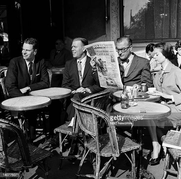 TODAY 'TODAY in Paris 1959' Pictured NBC News' Charles Van Doren Jack Lescoulie Dave Garroway 'Girl of the Day' Pamela Garroway at a Paris cafe in...