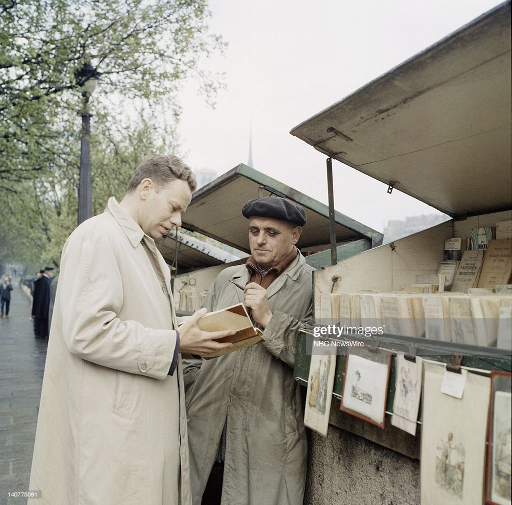 TODAY 'TODAY in Paris 1959' Pictured NBC News' Charles Van Doren visits book stalls along the Seine in Paris France from April 27 May 1 1959 Photo by...