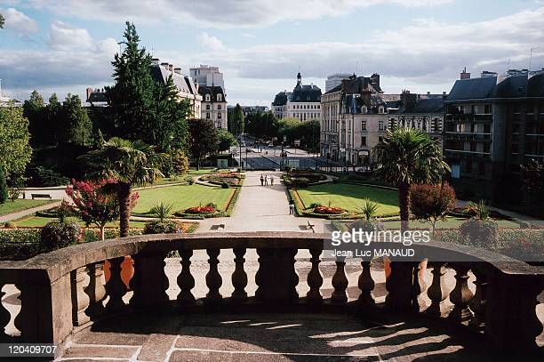 In Rennes Bretagne France in November 2004 The French gardens in the palace of SaintGeorges Restored in 1925 this building houses a portion of...