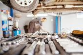 Close Up Of Tools In Car Repair Service