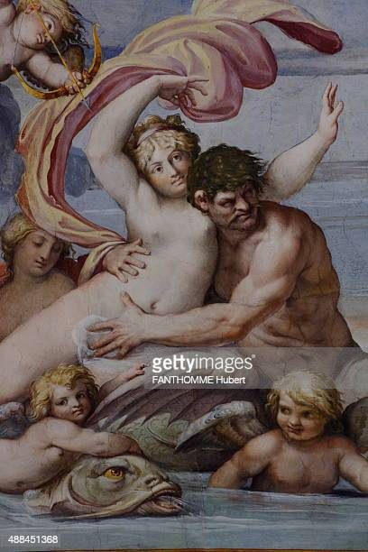 In Rome at the Palace Farnese which is also the french Embassy restoration of the Gallery painted by the brothers Carrache on August 27 2015A detail...