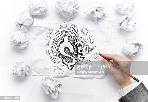 In search of income idea . Mixed media : Foto de stock