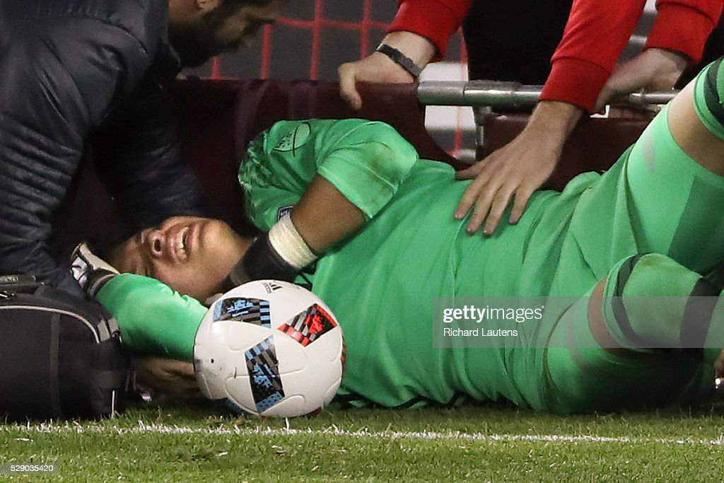 TORONTO ON MAY 7 In second half action FC Dallas goalkeeper Jesse Gonzalez gets hauled off on a stretcher in the dying moments of the game after...