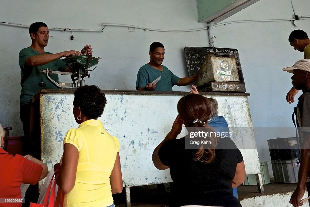 In state owned stores, fish is rationed to few citizens November 16, 2012 in Havana, Cuba. For years, commercial fishermen in Cuba have been allowed to make their own money from their daily catch, provided they give some fish to the state stores as well.