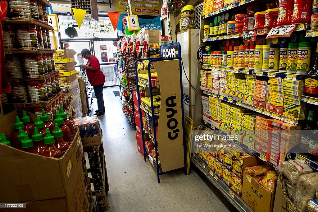 In Suk Pak, not shown, owner of the grocery store Bestworld, caters to his customers by stocking his store with a wide variety of Goya products, a popular brand-name for his customers, in Washington, on Tuesday, August 13, 2013.