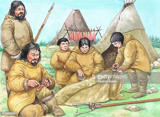 In summer some Inuit still live in tents of seal or caribou skin draped over frameworks of wood or bone and weighed down with stones