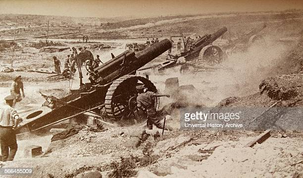 In the 191418 war armament grew bigger and more destructive Eightinch howitzers fire a barrage during the Battle of the Somme in August 1916 from...