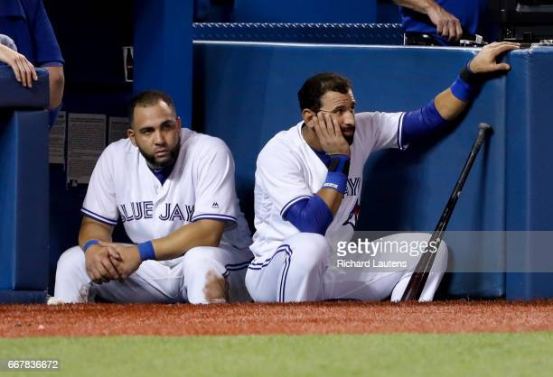 TORONTO ON APRIL 12 In the 8th inning Toronto Blue Jays first baseman Kendrys Morales and Toronto Blue Jays right fielder Jose Bautista look on as...