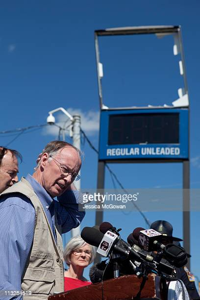 In the aftermath of Wednesday night's storms Alabama Gov Robert Bentley talks to media during a press conference in a destroyed area near the...