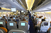 Passengers watching movie in the airplane over the sea