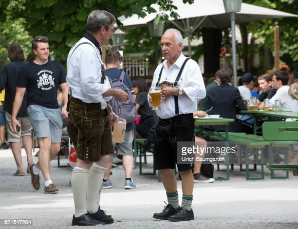 In the Bavarian capital Munich scene with beer in the English garden