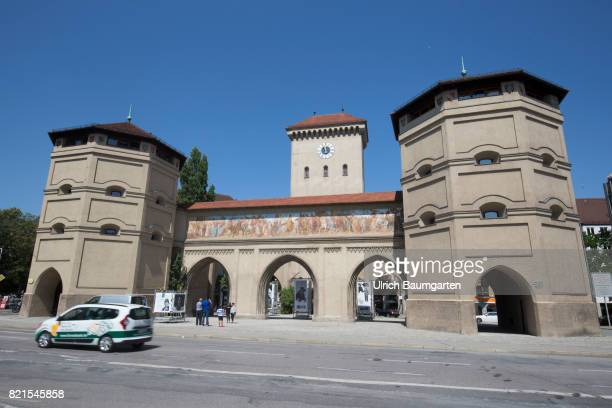 In the Bavarian capital Munich the Isartor eastern city gate of the historic old town of Munich with the ValentinKarlstadtMusäum