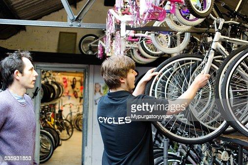 In the bike shop : Stock Photo