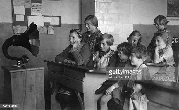 In the classroom Girls listening to a the school radio in their classroom 1929 Vintage property of ullstein bild
