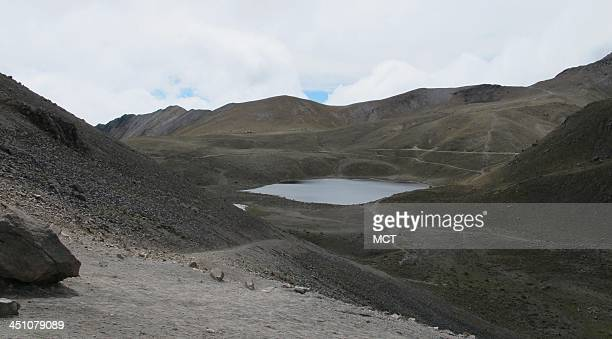 In the crater at the Nevado de Toluca nature reserve in Mexico lie the two highest lakes in the Americas The Laguna del Sol is visible in this photo...