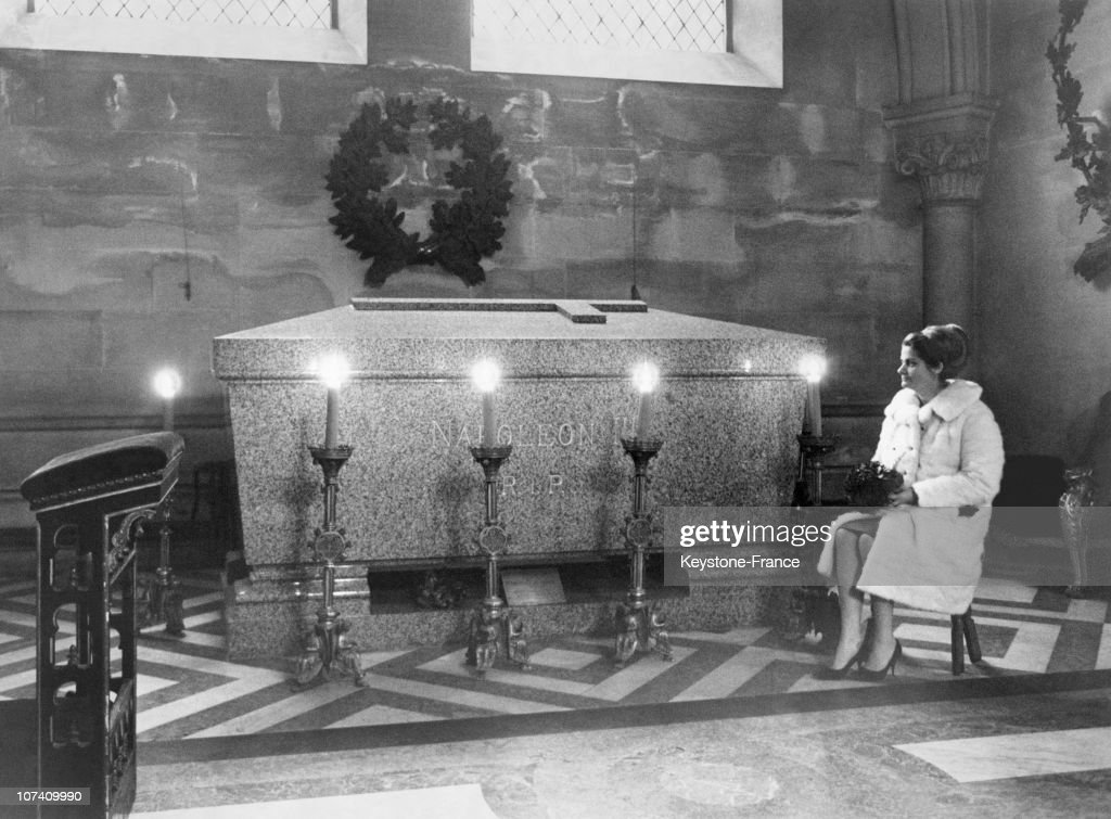 In The Crypt Of Farnborough Abbey, The Tresurer Of A French Association Called Les Amis De Napoleon Iii Sitting Next To The Emperor Tomb On January 09Th 1967.