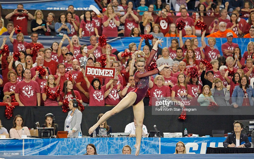 In the final floor routine of the night, Oklahoma edged LSU for the win, with Haley Scaman dancing the final performance with screaming Boomer Sooner fans behind her in the Super Six finals of the NCAA Women's Gymnastics Championships at the Fort Worth Convention Center on Saturday, April 16, 2016, in Fort Worth, Texas.