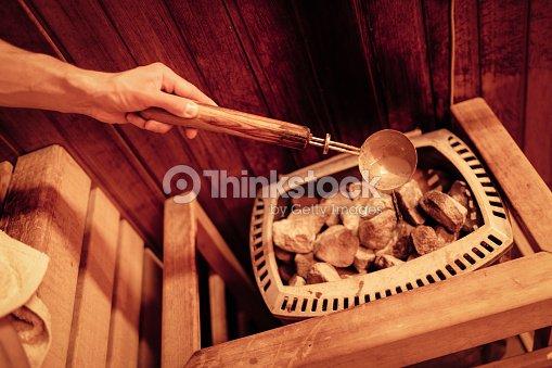 En la sauna finlandesa : Foto de stock
