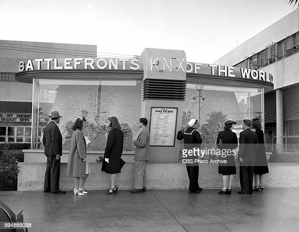 In the forecourt of CBSKNX Columbia Square a large display depicting Battlefronts of the World featuring the latest in war developments Image dated...