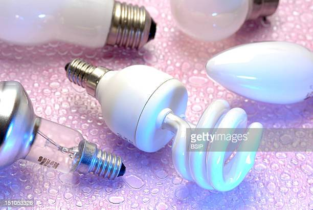 In The Foreground A Low Consumption Light Bulb