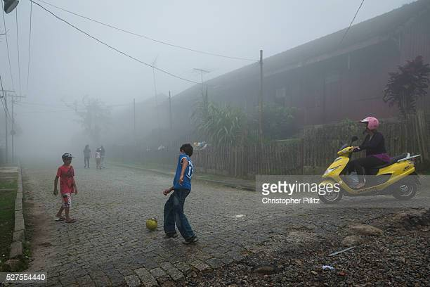In the former British railway village of Paranapiacaba it is said that football was introduced to Brazil by Charles Miller Here boys play football in...