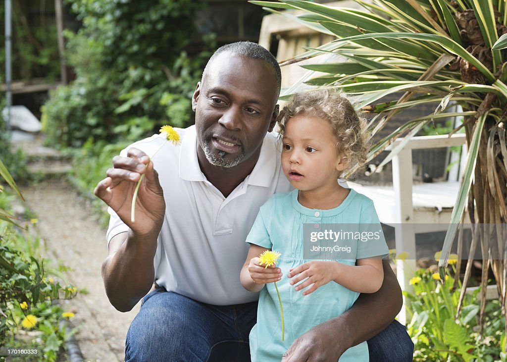 In the garden with Granddad : Stock Photo