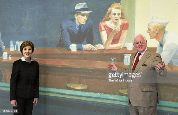 In the handout provided by the White House first lady Laura Bush stands with Rusty Powell III Director of the National Gallery of Art in front of a...