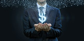 In the hands of a businessman appears the dollar sign from the network connections . The concept of electronic money.
