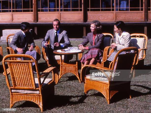 In the Imperial Reserve 'Shinama' the Crown Princes Akihito the Spanish King Juan Carlos the Spanish Queen Sofia and the Princess Michiko 29th...