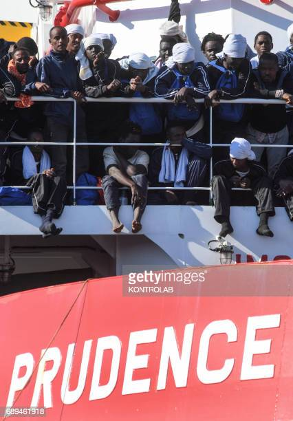 In the Naples harbor 1449 Migrants disembark from the 'VOS Prudence' ship run by the NGO Medecins Sans Frontieres