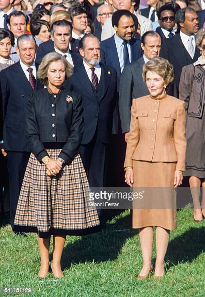 In the official travel to US of the Spanish Kings the Queen Sofia and Nancy Reagan at the White House 13th October 1981 Washington United States