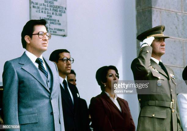 In the official visit to Ecuador of the Spanish Kings the King Juan Carlos visits the military college 'Eloy Alfaro' with Ecuadorian President Jaime...