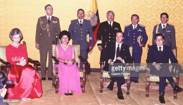 In the official visits to Ecuador the Spanish Kings Juan Carlos and Sofia before a dinner at the Presidential Palace with Ecuadorian President Jaime...