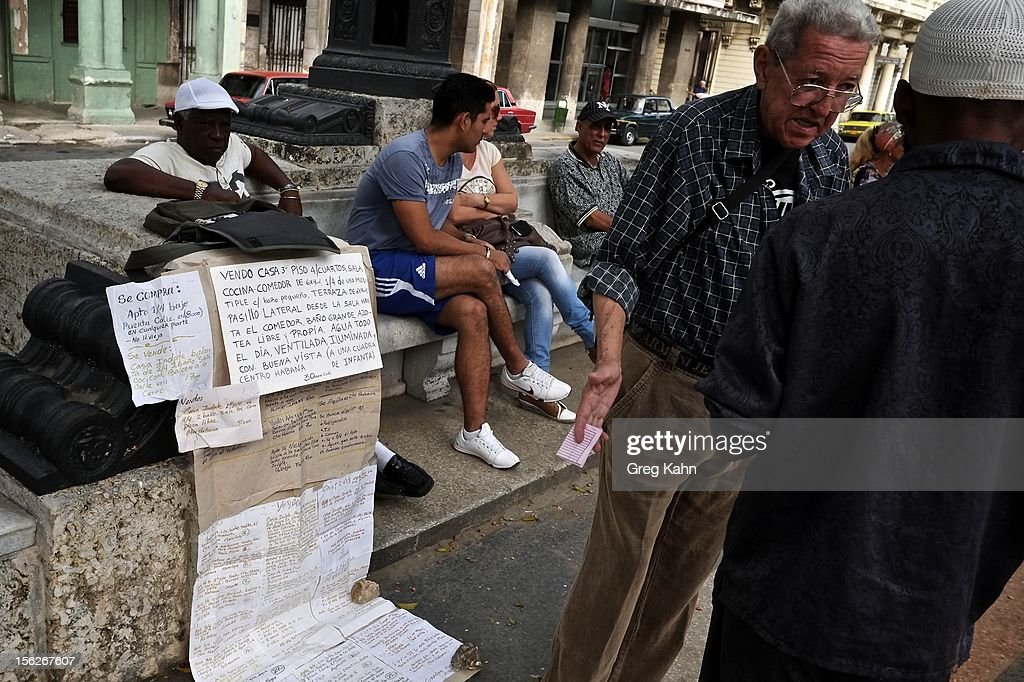 In the Paseo del Prado citizens try to sell everything from apartments to cars on November 12, 2012 in Havana, Cuba. New business regulations in the communist country have allowed thousands of citizens to make money for themselves for the first time since 1959.