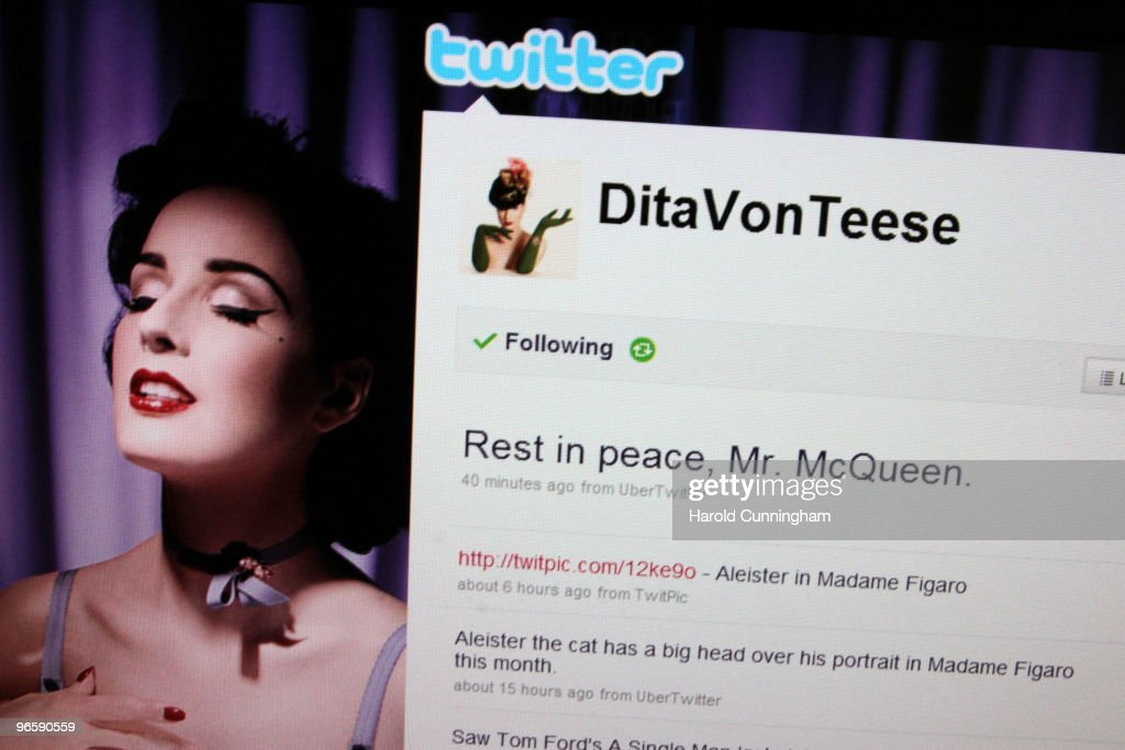 In the photo illustration, Dita Vaon Teese comments about Alexander McQueen death on Twitter on February 11, 2010 in London, England. Mr McQueen's office have confirmed that the 40 year old designer was found dead at his London flat this morning. Police have said that his death was not being treated as suspicious.