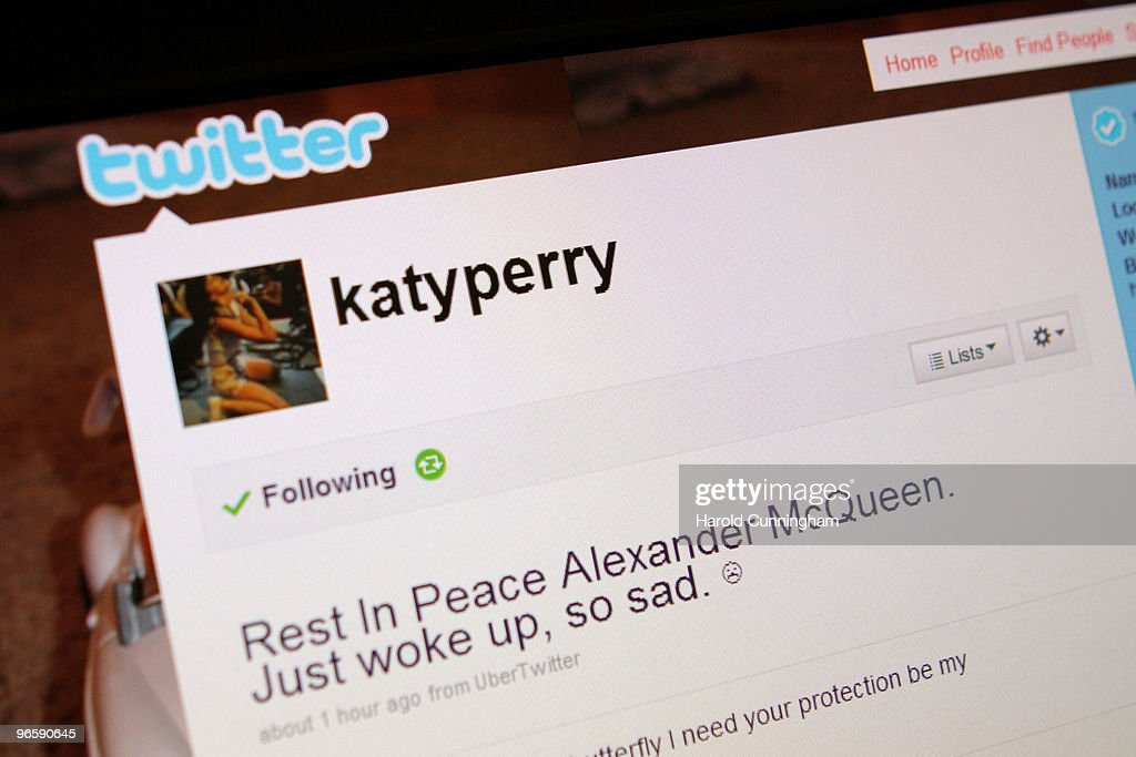 In the photo illustration, Katy Perry comments about Alexander McQueen death on Twitter on February 11, 2010 in London, England. Mr McQueen's office have confirmed that the 40 year old designer was found dead at his London flat this morning. Police have said that his death was not being treated as suspicious.