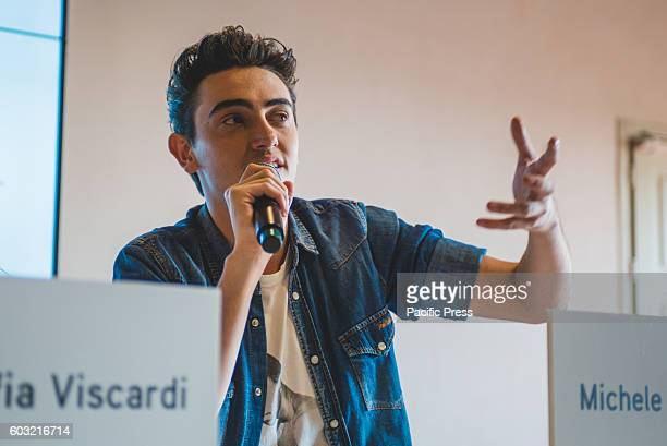 VENARIA VENARIA TORINO ITALY In the photo Michele Bravi Youtubers talking at the panel called 'The Web communication instrument for the creative...