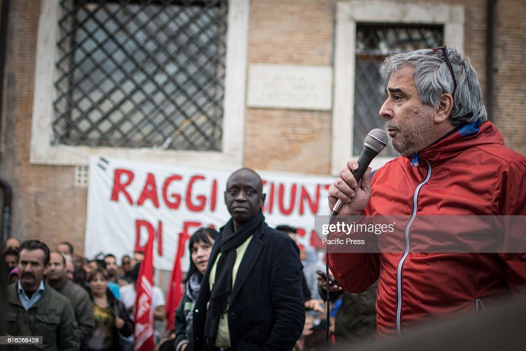 In the photo Paolo Di Vetta. Hundreds of 'Housing Rights' activists took to the street in Rome to protest against forced housing evictions, to ask for the respect of accommodation right and use more public funds to help people without homes or those who cannot pay their rent.