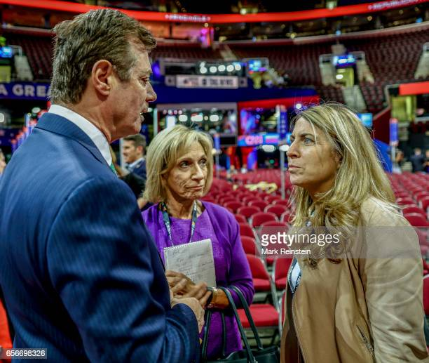 In the Quicken Arena before the Republican National Convention American political lobbyist and Trump campaign manager Paul Manafort speaks with...