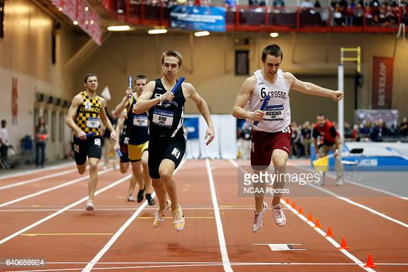 In the race for third place Aric Hoeschen of Wisconsin La Crosse barely beats Jared Denu of Wisconsin Whitewater in the Men's 4x400 meet relay at the...