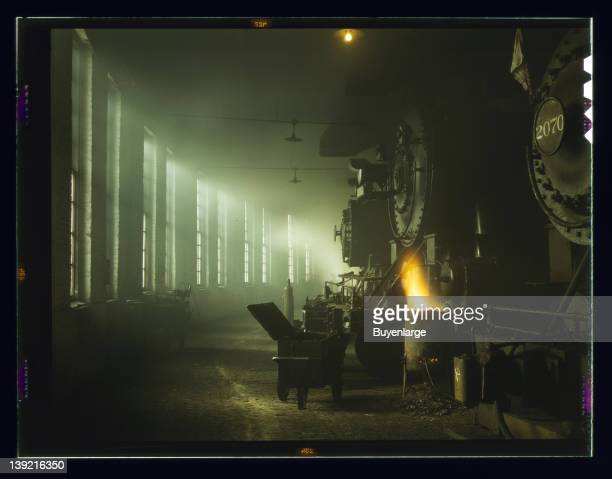 In the roundhouse at a Chicago and Northwestern Railroad yard Chicago Illinois 1942