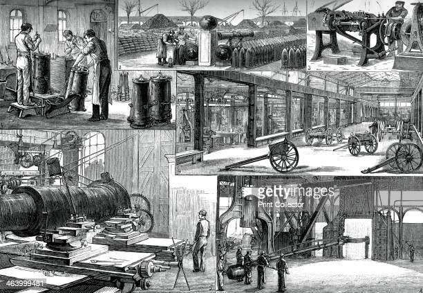 In the Royal Arsenal Woolwich c1880 The shot and shell foundry the shot yard bullet making carriage department turning room and forging a breech coil...