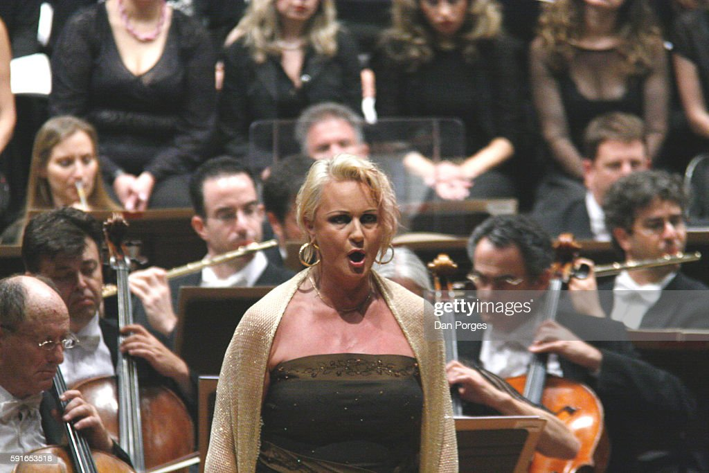 In the title role Swedish soprano Irene Theorin performs in 'Turandot' with the Israel Philharmonic Orchestra at the Mann Auditorium Tel Aviv Israel...