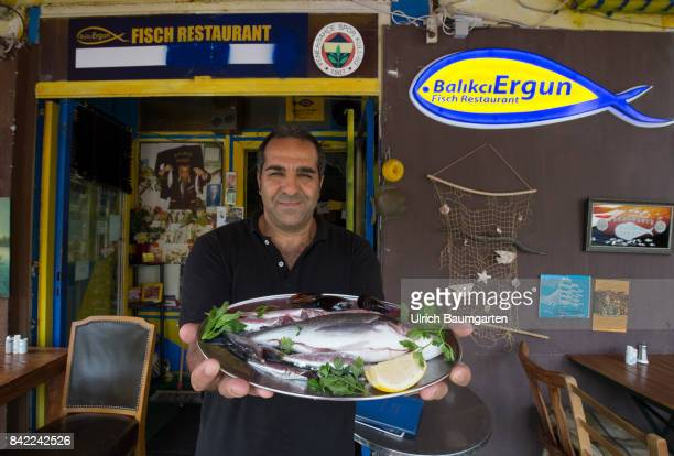 In the vault under the suburban train line at Lueneburger street in Berlin A special fish restaurant under Turkish management The photo shows the...