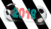 """""""2019"""" in the white background. 3D Illustration."""